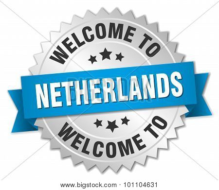 Netherlands 3D Silver Badge With Blue Ribbon