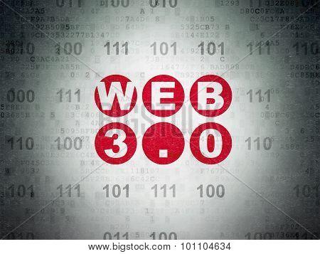 Web development concept: Web 3.0 on Digital Paper background