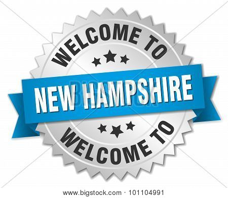 New Hampshire 3D Silver Badge With Blue Ribbon