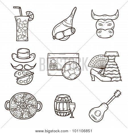 Set of cartoon drawn icons on Spain theme: flag, bull, ball, flamenco, guitar, jamon. Travel europe