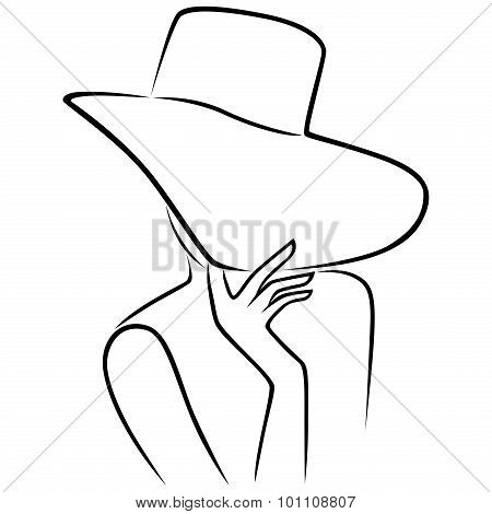 Lady In Hat With Wide Brim That Hides The Face