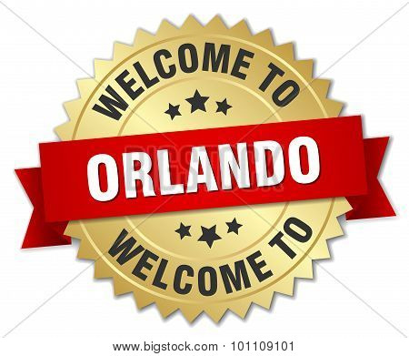 Orlando 3D Gold Badge With Red Ribbon