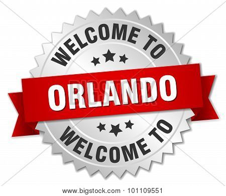 Orlando 3D Silver Badge With Red Ribbon