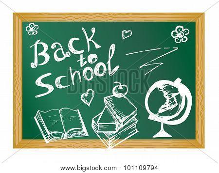 School Blackboard With Book And Globe