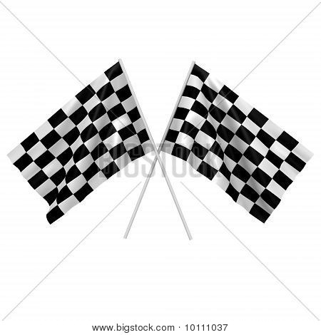 Two checkered race flags - a 3d image