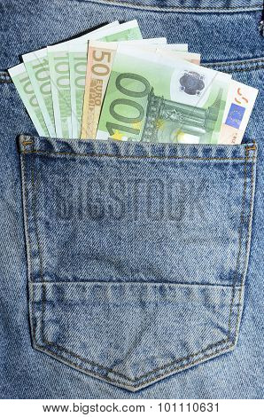 Euro Banknotes In Jeans Back Pocket