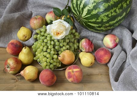 Group Of Fruits And Water Melon