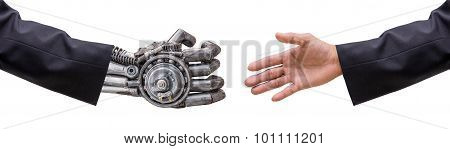 Hand Of Man And Cy-ber Robot  Hand In Suit With Handshake Isolated