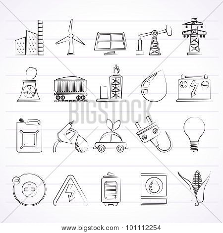 Power, energy and electricity Source icons