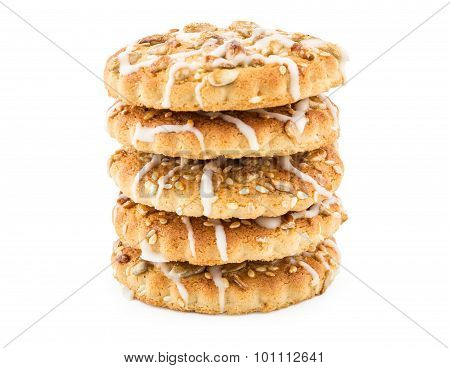 Stack of biscuits with sesame seeds and sunflower seeds
