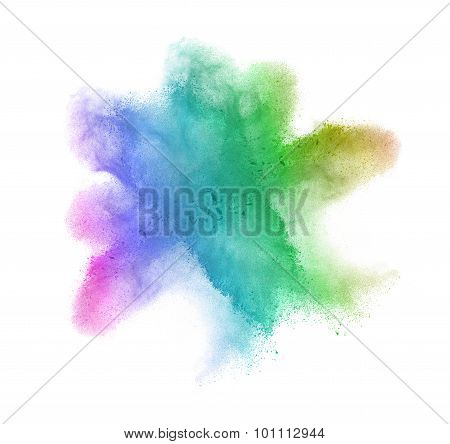Gradient colored powder splash isolated on white