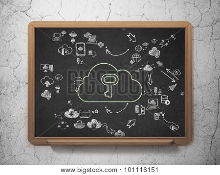 Cloud technology concept: Cloud With Key on School Board background