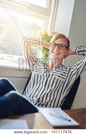 Relaxed Confident Successful Businesswoman