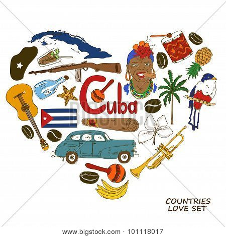 Cuban Symbols In Heart Shape Concept.