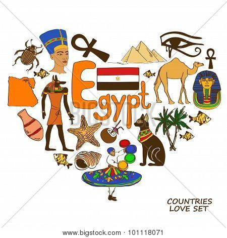 Egyptian Symbols In Heart Shape Concept