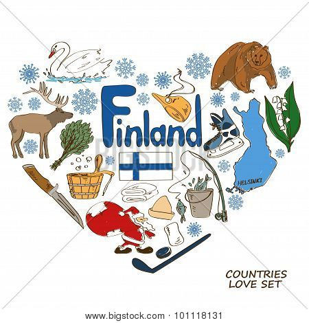 Finland Symbols In Heart Shape Concept