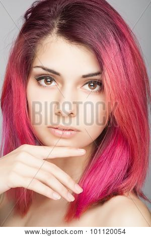 Beauty Fashion Model Girl with Pink Hair. Colourful Hair.
