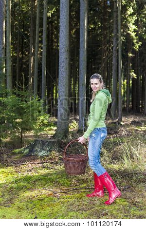 mushroom picking woman
