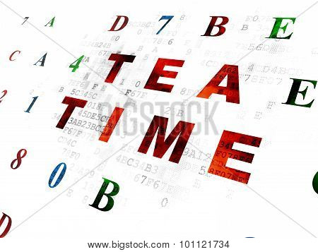 Time concept: Tea Time on Digital background