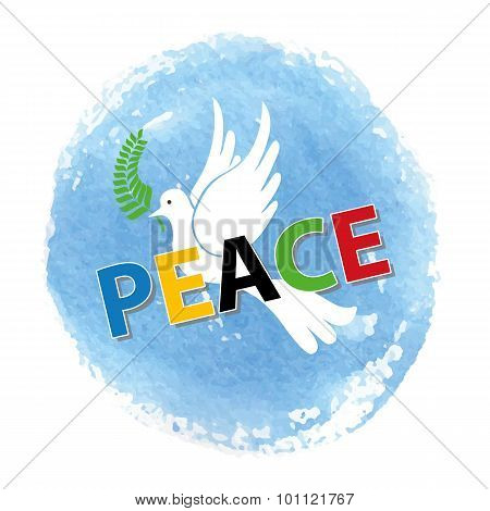 Peace day.White pigeon,watercolor blue sky
