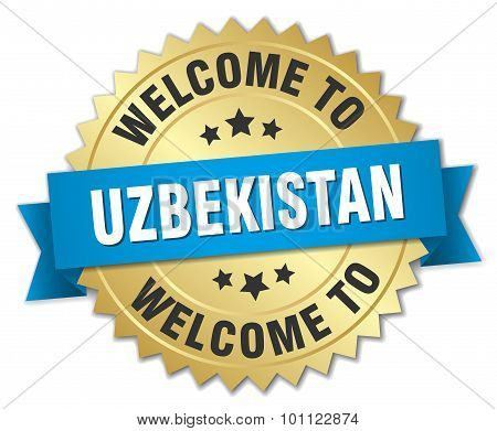 Uzbekistan 3D Gold Badge With Blue Ribbon
