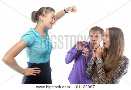 Explaining businesswoman and employees
