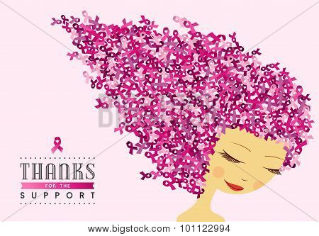 Breast Cancer Awareness Happy Woman Pink Ribbon
