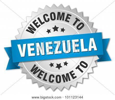 Venezuela 3D Silver Badge With Blue Ribbon