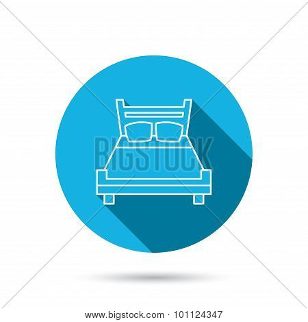 Double bed icon. Sleep symbol.