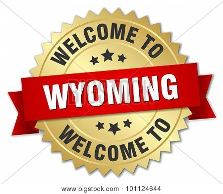 Wyoming 3D Gold Badge With Red Ribbon