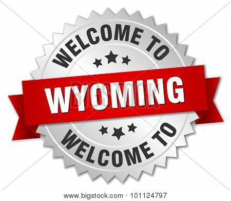 Wyoming 3D Silver Badge With Red Ribbon