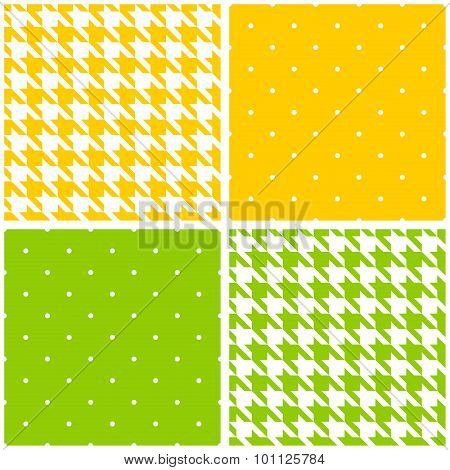 Seamless green, yellow and white vector pattern or tile background set
