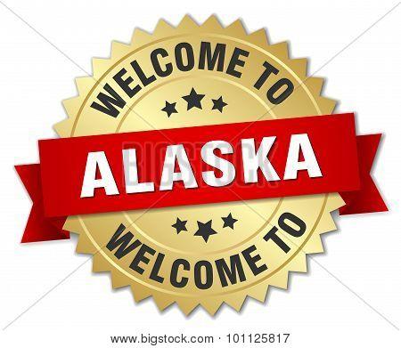 Alaska 3D Gold Badge With Red Ribbon