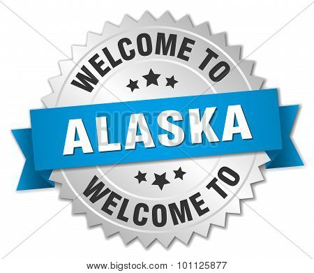 Alaska 3D Silver Badge With Blue Ribbon