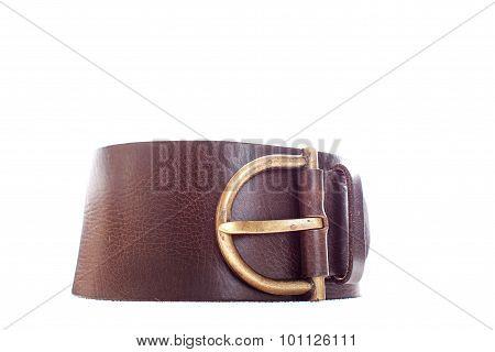 Leather Belt Isolated On White Background.
