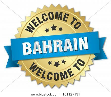 Bahrain 3D Gold Badge With Blue Ribbon