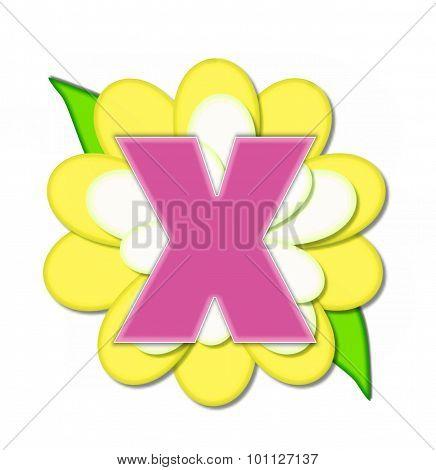 Alphabet Flower Pin Yellow X