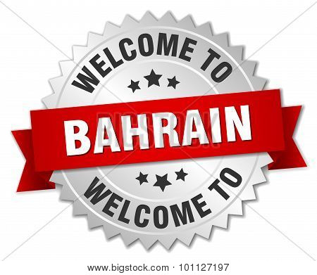 Bahrain 3D Silver Badge With Red Ribbon