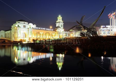 Kiev Station And Fountain Rape Of Europe In Moscow At Night