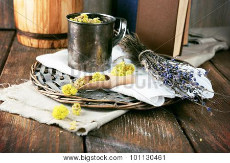 Different dried herbs on table close up