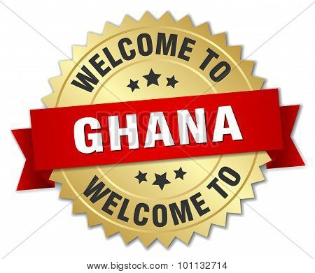 Ghana 3D Gold Badge With Red Ribbon