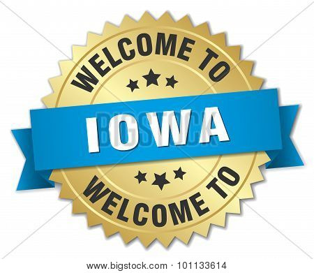 Iowa 3D Gold Badge With Blue Ribbon