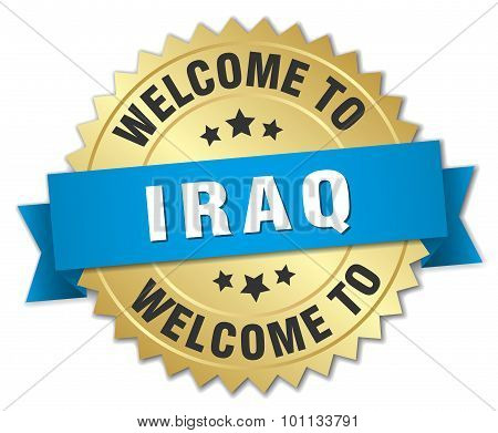 Iraq 3D Gold Badge With Blue Ribbon