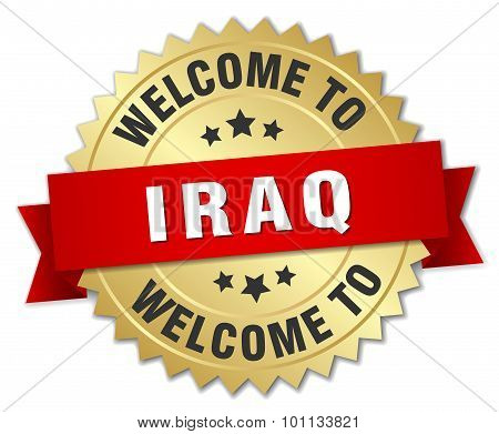 Iraq 3D Gold Badge With Red Ribbon