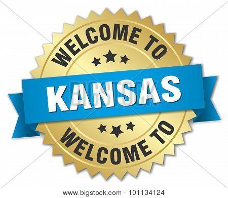 Kansas 3D Gold Badge With Blue Ribbon