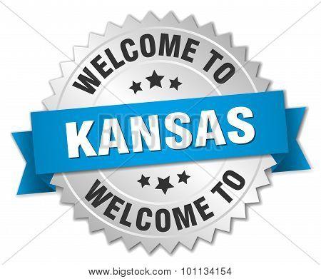 Kansas 3D Silver Badge With Blue Ribbon