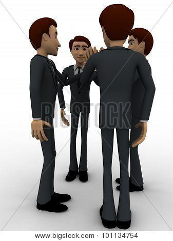 3D Men Tossing Hands Concept