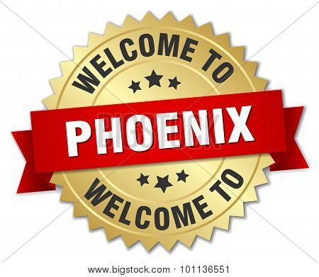 Phoenix 3D Gold Badge With Red Ribbon