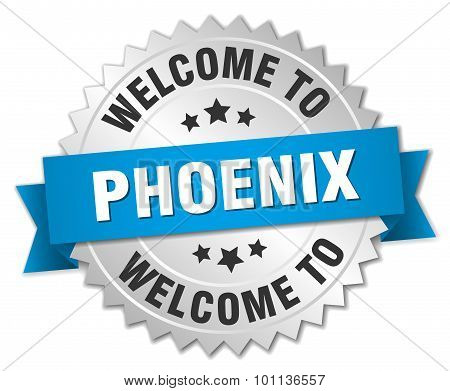 Phoenix 3D Silver Badge With Blue Ribbon