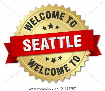 Seattle 3D Gold Badge With Red Ribbon